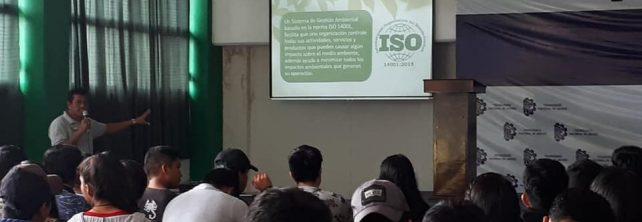 Comunidad Tecnológica del TecNM Campus Frontera Comalapa recibe pláticas relacionadas con el Sistema de Gestión Ambiental