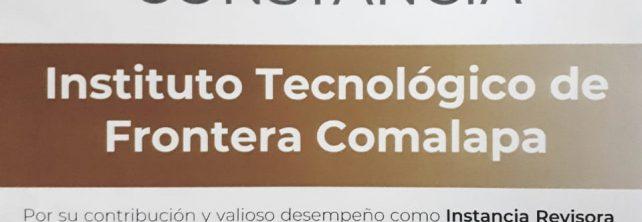La Secretaría de Gobernación a través del Instituto Nacional para el Federalismo y el Desarrollo Municipal otorga constancia al Instituto Tecnológico de Frontera Comalapa