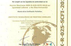 El TecNM campus Frontera Comalapa certifica su Sistema de Gestión de Igualdad de Género